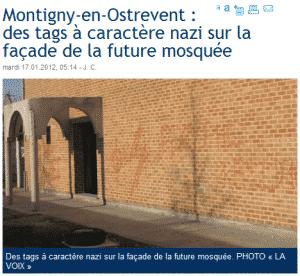 Tags nazis sur la façade de la mosquée