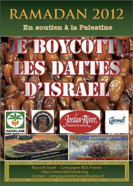 Ramadan 2012 : lancement de la campagne «Je boycotte les dattes d'Israël»