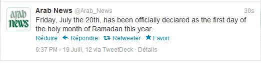 Ramadan 2012 Arabie Saoudite