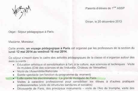 lettre mosquée de Paris