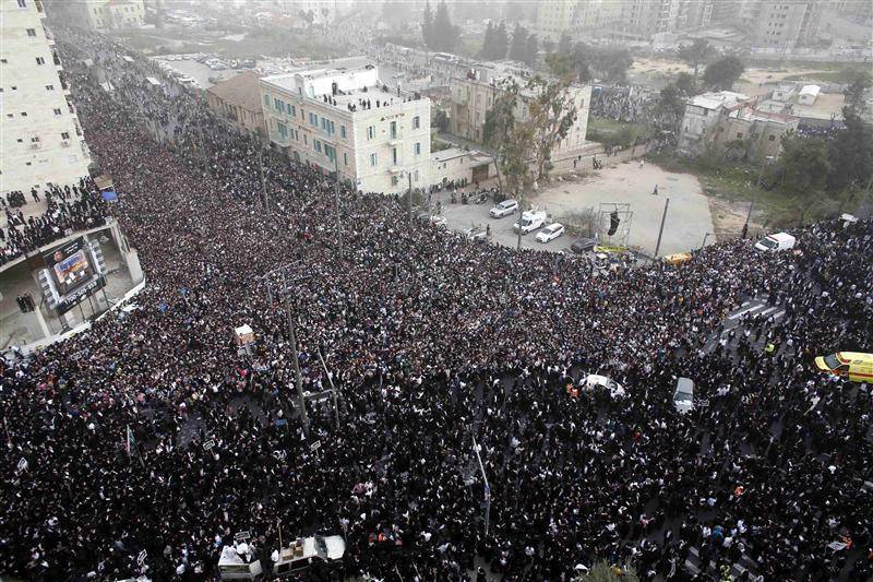 Ultra-Orthodox Jewish men take part in a mass prayer in Jerusalem