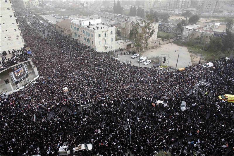 Ultra-Orthodox Jewish men take part in a mass prayer in Jerusalem