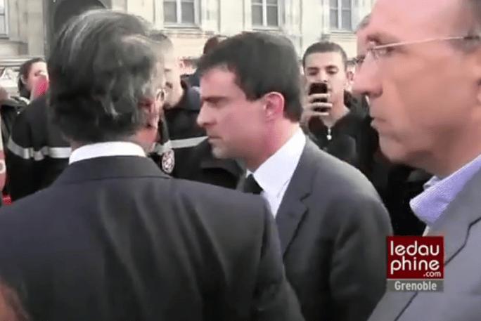Manuel Valls en colère contre un pompier qui refuse de lui serrer la main