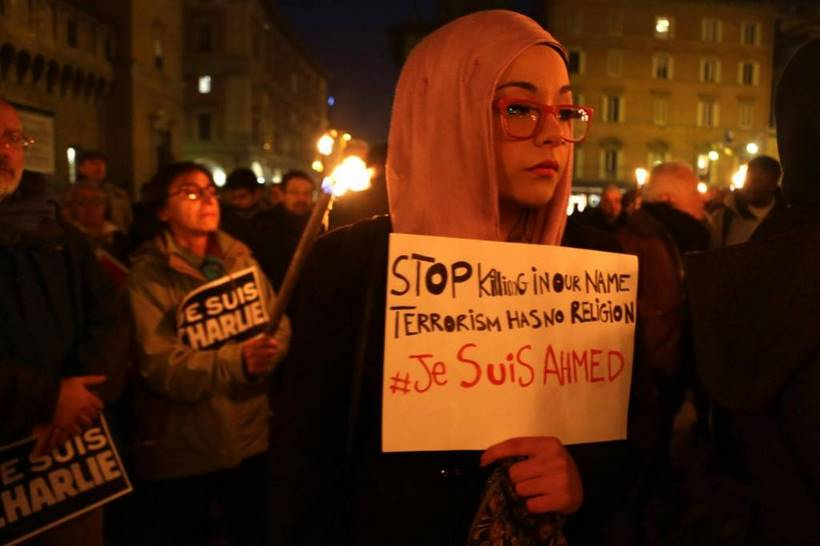 Solidarity rally in Bologna to support of victims of the Charlie Hebdo attack