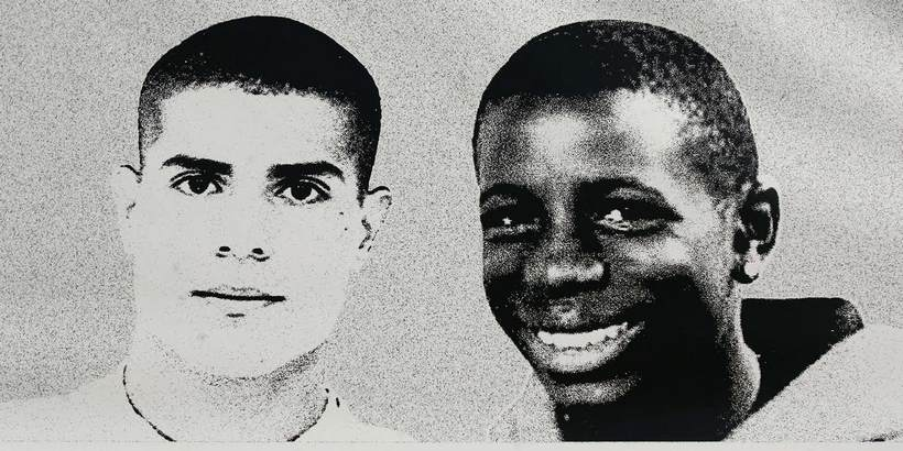 "Picture taken 04 November 2006 in Clichy-sous-Bois, northern Paris, of a giant picture of Zyed (L) and Bouna, the two teenagers whose death led to France's last year nationwide wave of riots, on the sidelines of the ""Diversity national day"", focusing on ""the diversity in the suburbs' housing estate"". AFP PHOTO OLIVIER LABAN-MATTEI"