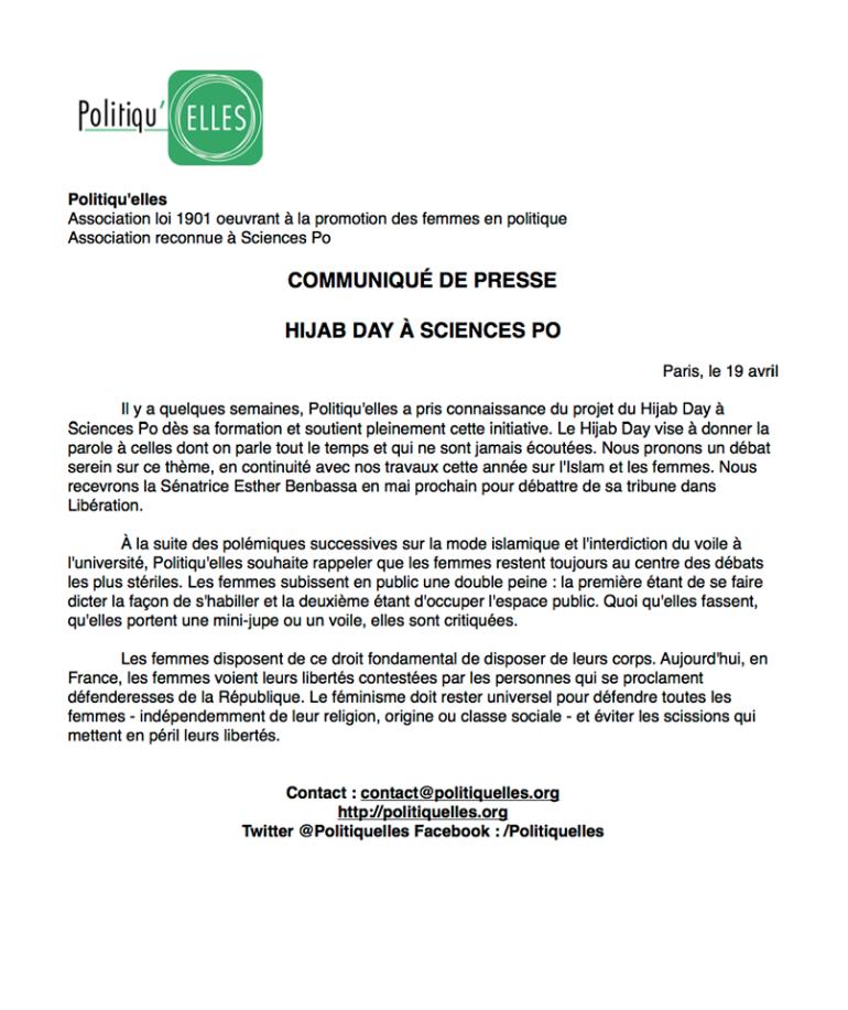 Initiatives : le Hijab Day à Science-Po Paris...