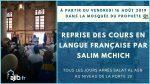 Reprise des cours en langue française par Salim Mchich
